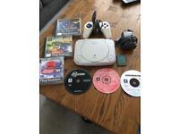 Sony PS1 Console white slim version plus 6 games