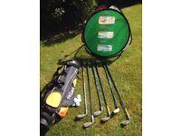 Junior Golf Clubs, bag, practice net etc
