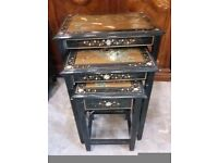 Stunning Nest of Tables Oriental Design. Black & Gold Painted Picture Top.