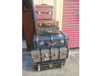 Various trunks and cases Bottom Leather Black Trunk £100 Grey Trunk £80 Blue Trunk £80