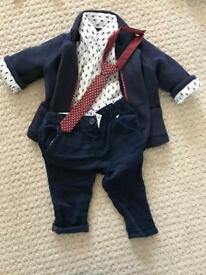 Boys mamas & Papas 3-6 month trousers suit with tie