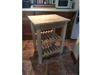Wooden butchers block table