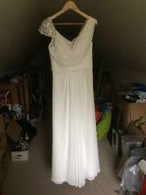 A-line cowl neck chiffon ivory wedding dress
