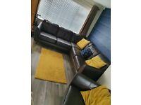 DFS Aurora Brown Leather Corner Sofa and Armchair