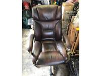 Brown leather office chair for sale