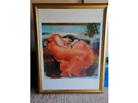 """Large framed picture of """"Flaming June"""" in gold wooden frame 70cms x 90cms"""