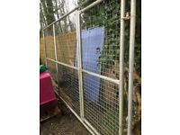 5 x LARGE GALVANISED KENNEL PANELS, (ONE WITH DOOR) COLLECT SWANSEA