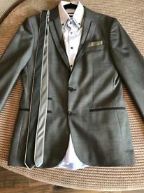 Grey prom suit with shirt and tie