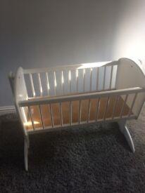 White mothercare rocking crib