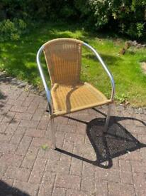 5 Aluminium/Rattan garden chairs - stackable