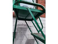 Factory ladders with domed castors ,safety bar and grab rail