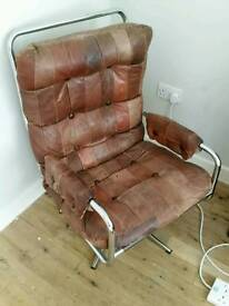 Danish leather office deco chair