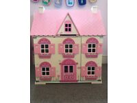 ELC wooden dolls house and furniture. Excellent condition