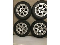 4x Mini 15inch alloys and tyres (2 of which snow tyres) all Pirelli 175/65/R15