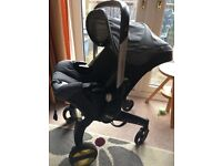 Doona car seat, raincover & isofix base