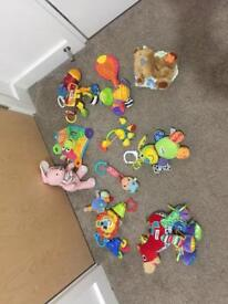 Teething toys. Rattled and lazame toys.