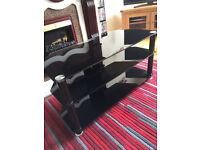 Black Glass 3 Tier TV stand GOOD AS NEW