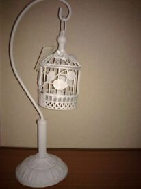 3 shabby chic cream white silver candle light holder bird cage garden conservatory deco CAN DELIVER