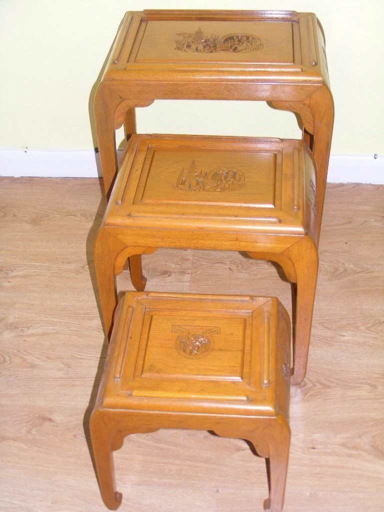 CAN DELIVER - ORIENTAL CHINESE CARVED NEST OF TABLES - VERY RARE PIECE OF FURNITURE