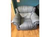 Real leather armchair in blue