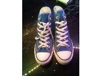 blue high top converse all star size 6