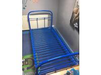 Blue Metal Frame Single Bed