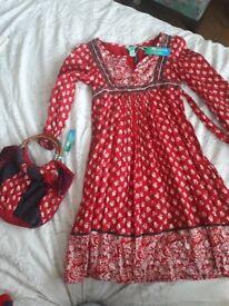 Girls Monsoon Dress with matching bag 8-9 years