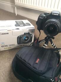 Canon EOS 1300D SLR Kit Inc 18-55mm DC III Lens, 16Gb SD, Lens Cloth, Case & Tripod