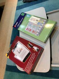 Office planner, desktop copy holder and sliding desk for keyboard