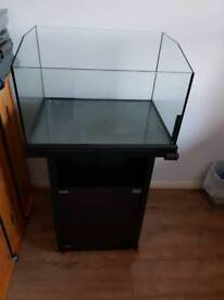 Glass open top aquarium with stand