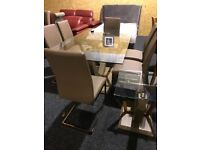 New glass top modern table and six leather chairs