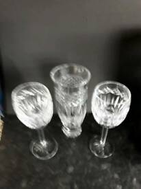 Two beautiful Tyrone Crystal wine glasses and one vase