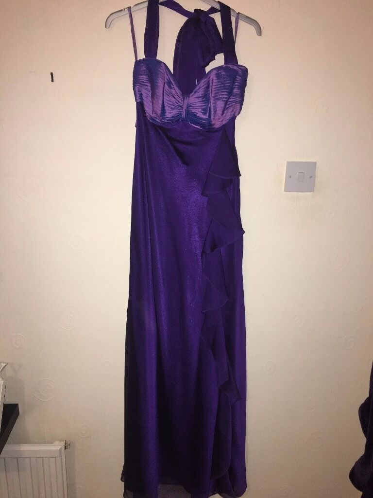 Purple Dress Size 8in Leicester, LeicestershireGumtree - Ladies Long line Debut Purple Maxi Dress. Size 8. Lovely front detail, adjustable next strap, comfortable to wear. Only worn once. Perfect for a Christmas party!