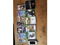 Sony PsP console, games and Xbox 1 and 360