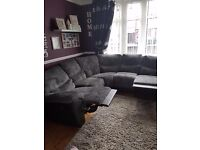 Grey corner sofa with recliners