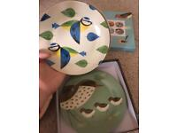 Magpie birdy set 4 side plates new
