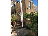 2 Feather Flag poles (2.8m) with accessories (ground stakes/ weights/supports)