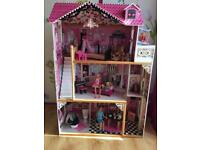 Kiddikraft wooden dolls house with dolls, furniture, nursery and accessories