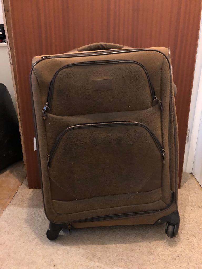 Kangol Brown suede look large Suitcase - Damaged  beed53c218eb