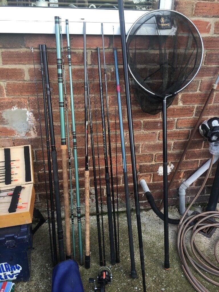 Fishing equipment rods reals nets chairs etc joblot