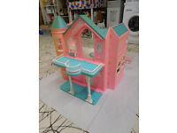 Barbie Dream House. Rare Vintage Victorian style + furniture, 10 non Barbie dolls, good condition..