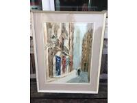 VINTAGE RETRO MID CENTURY LARGE EUROPEAN CITY WATERCOLOUR STUDY