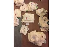 Various Cricket items . Trousers, jumpers, Pads,gloves, thigh guards etc..