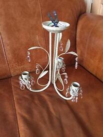Shabby Chic 3 Light Cream Droplet Chandelier Ceiling Light