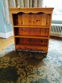 Lovely waxed pine shelf with three drawers