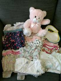 Baby girl 0-3 months clothes bundle 53 items including sleeping bags