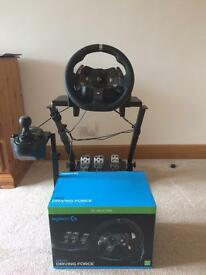 Logitech G920 steering wheel and stand