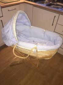 BABY BOY MOSES BASKET WITH STAND AND BEDDING £20