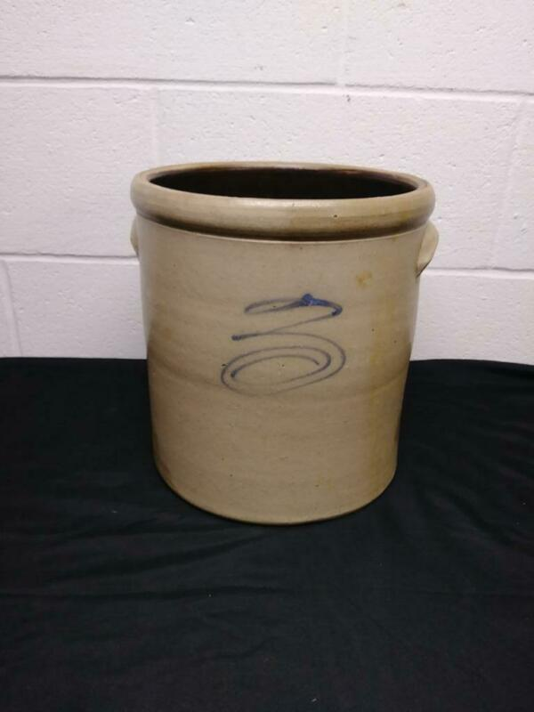 Primitive 3 Gallon Blue Bee Sting Stoneware Crock w/ Handles - Antique Stoneware