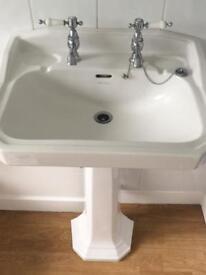 Bathroom basin and pedestal.